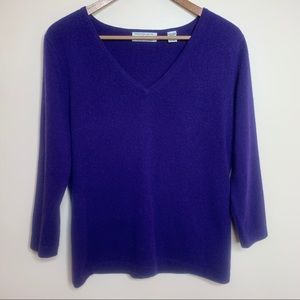 Lord & Taylor 100% Cashmere Purple V-Neck Sweater